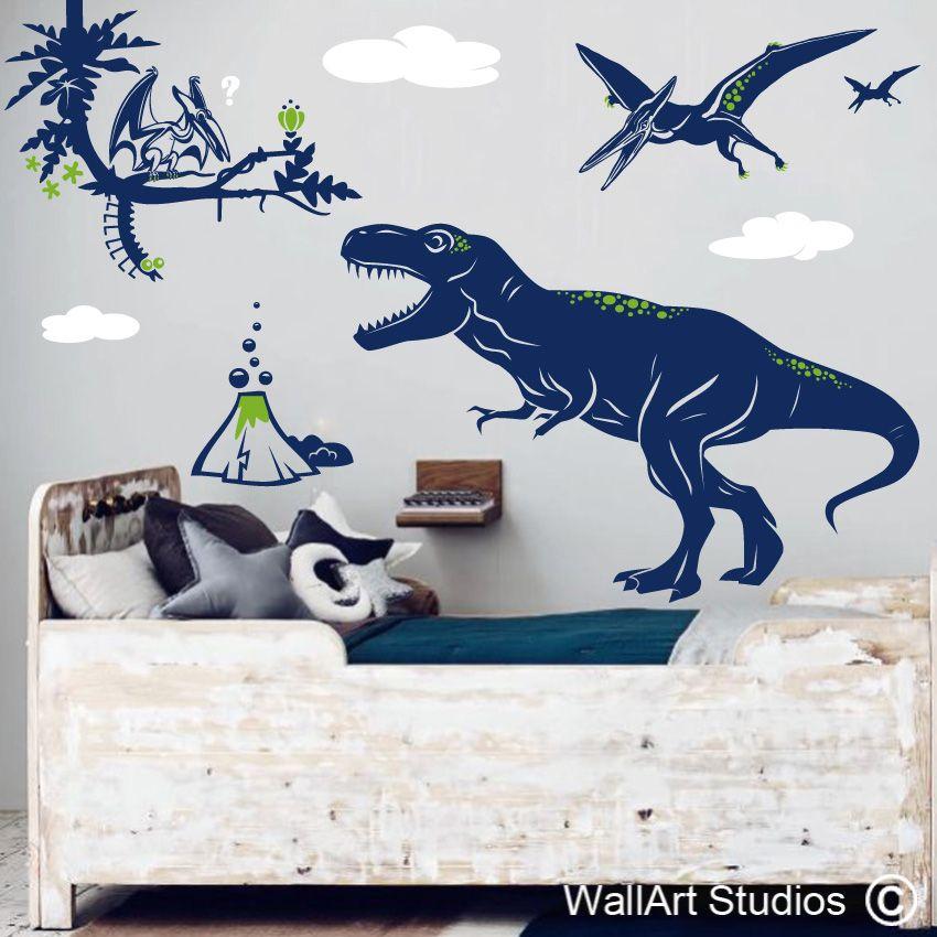 Wall decals DINOSAUR ADVENTURE dino/'s jungle world Boys /& nursery decor by GraphicsMesh