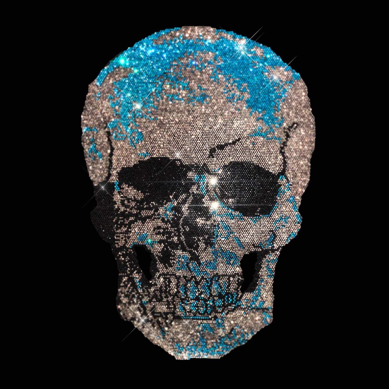 Turquoise Skull Rhinestone Iron On Heat Transfer