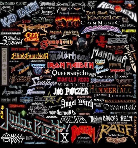 Heavy Metal Band Collage | Metal band logos, Heavy metal ...
