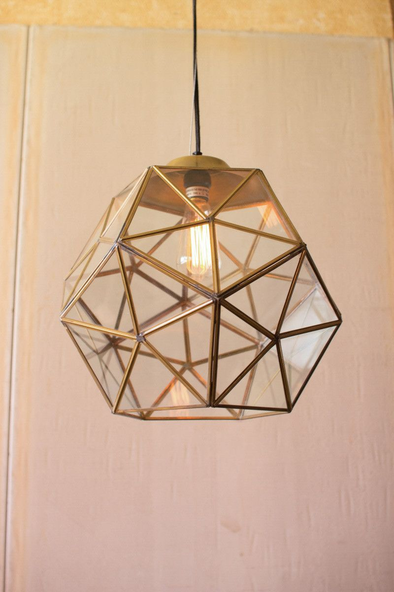Large Glass And Antique Gold Metal Faceted Pendant Gold