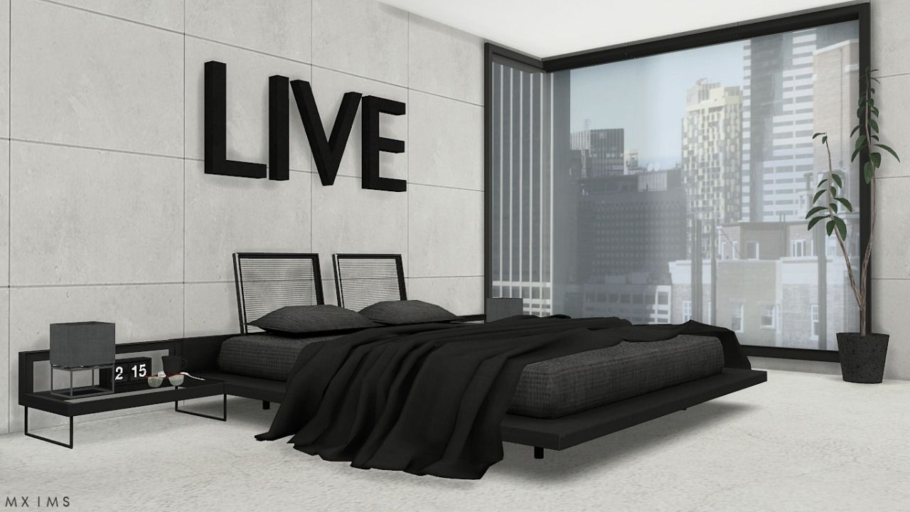 Stylish modern bedroom • bed without blanket animation • glass end table • bed blanket • recolors of mio sims plant conversion download x credits