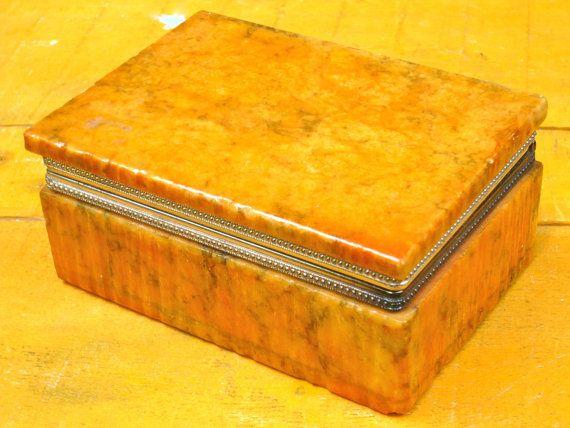 Alabaster Box Vintage Carved Alabaster Box By Casakarmadecor