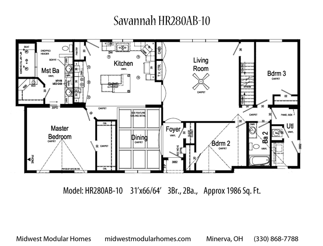 Savannah Hr280ab 10 Ranch House Floor Plan Total Living Area 1986 Sq Ft 3 Bedrooms And 2 Bathroo Modular Homes Ranch House Floor Plans Custom Floor Plans