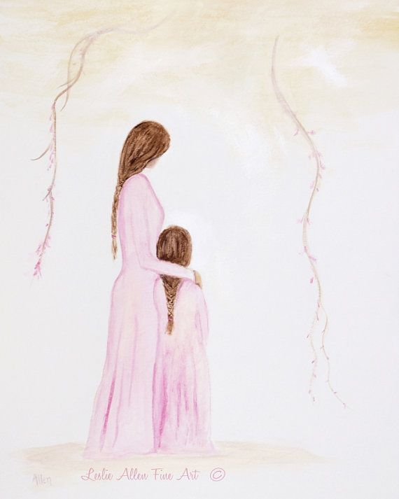 Mother Daughter Art Print Mother Art By Leslieallenfineart On Etsy