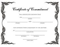 Free Commitment Ceremony Printable Certificates Templates  Addams