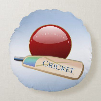 Ball and Bat Blue Cricket Sports Round Pillow   Zazzle com is part of Round pillow, Cricket (sports), Round throw pillows, Cricket, Home gifts, Ball - This cool round pillow displays a cricket ball and bat on a pale blue background   The text can easily be changed or removed  The design is repeated on the back