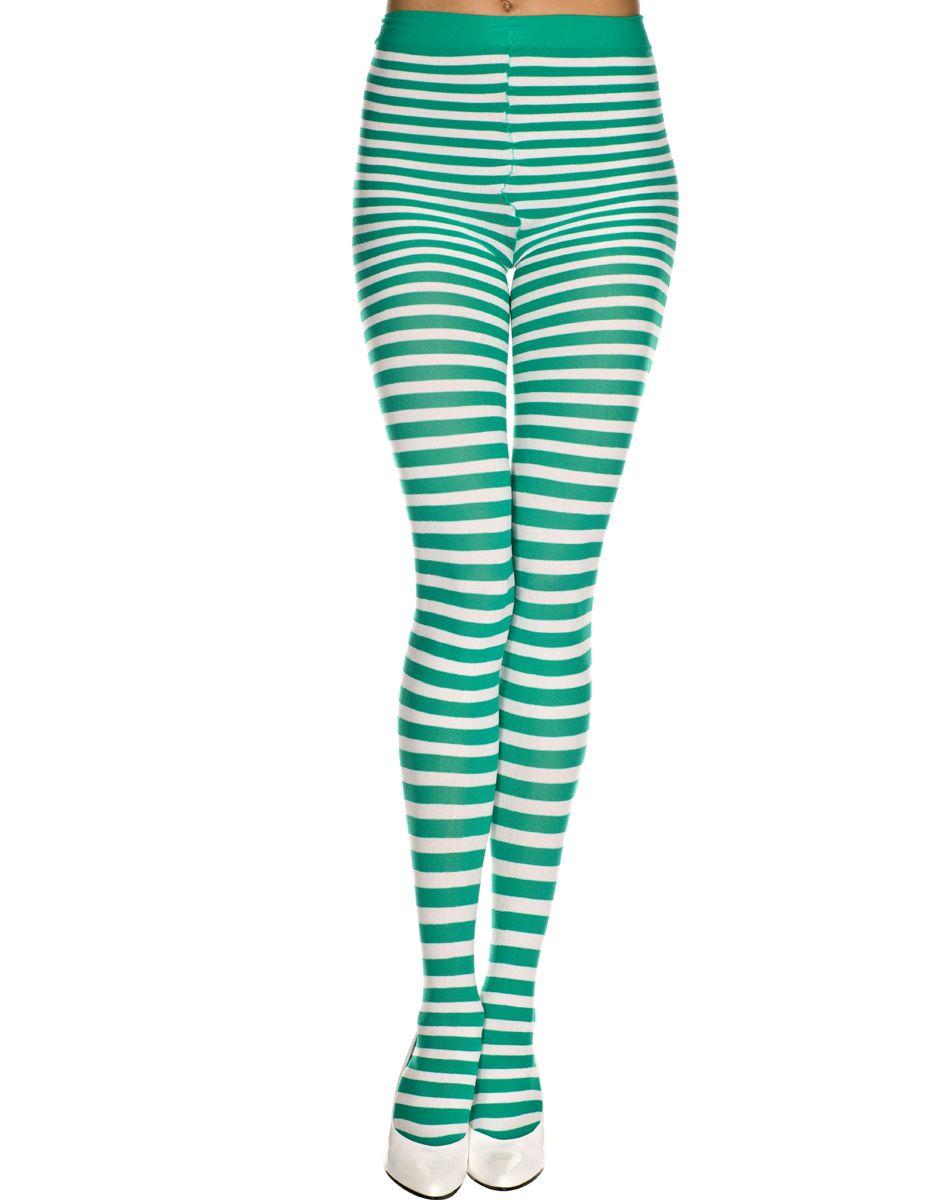 Green Striped Leggings