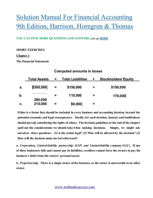 Www Testbanksuccess Com Solution Manual For Financial Accounting 9th Edition Harrison Horngren Thoma Financial Accounting Financial Statements Accounting