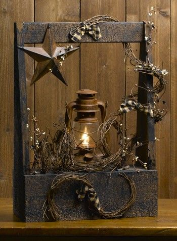 Old Lantern Turned Lamp In A Rustic Box Love This Rustic Box Primitive Decorating Old Lanterns