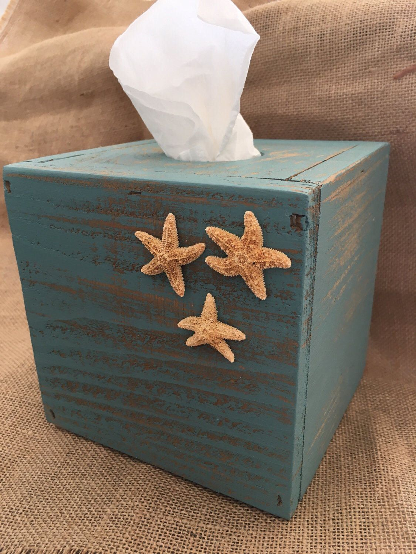 Starfish 3 Types Tissue Holder Wooden Tissue Box Case Holder Facial Tissue Box Napkin Holder Facial Tissue Box Cover Holder