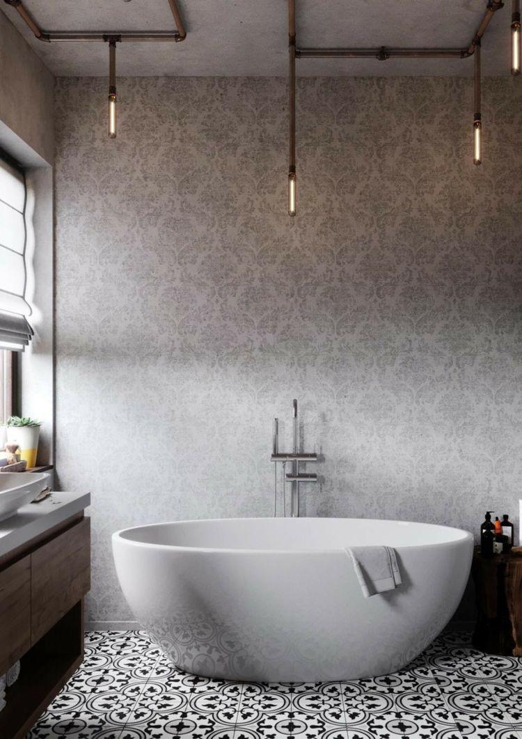 Badezimmer Badewanne Oval Wandgestaltung Decke Beton Lampen