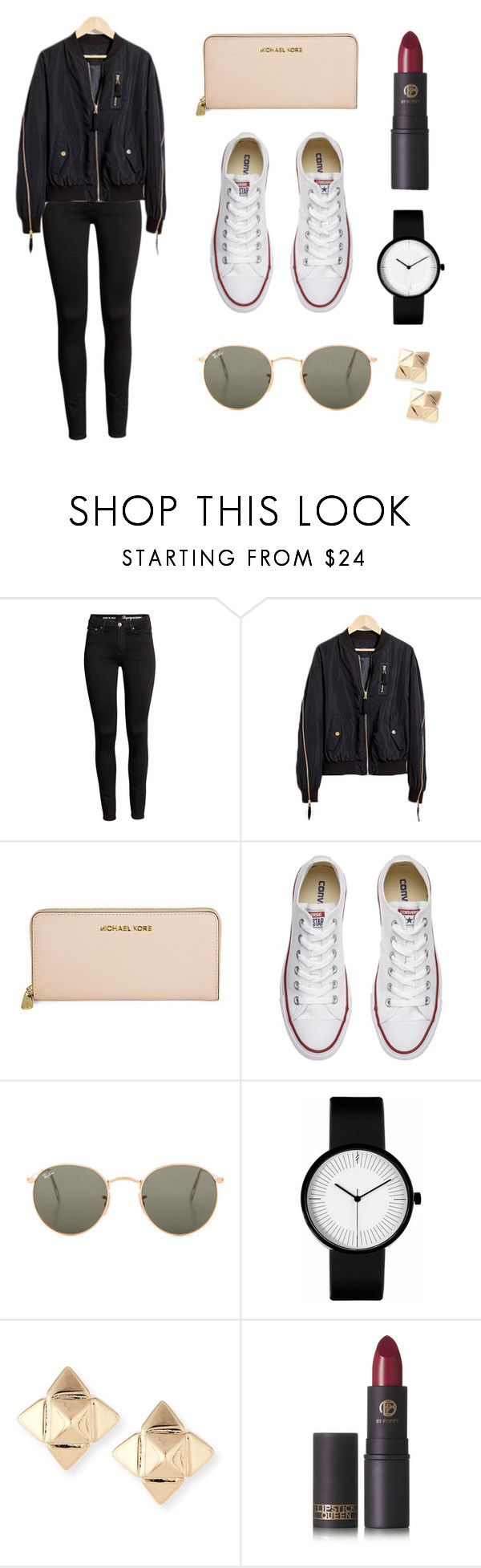"""""""Untitled #168"""" by anna-james-21 ❤ liked on Polyvore featuring Michael Kors, Converse, Ray-Ban, Valentino and Lipstick Queen"""