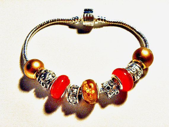 European Beads Bracelet fall autumn PB580 by CookalasHouseOfCards, $11.99