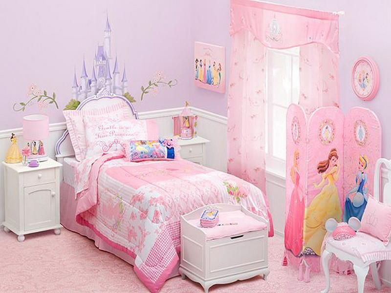 Pink And Purple Girls Bedroom With Disney Princess Themed Room With Cute  Accent And Furnitures