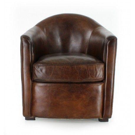 Fauteuil club cuir marron Fumoir Saulaie Chambre