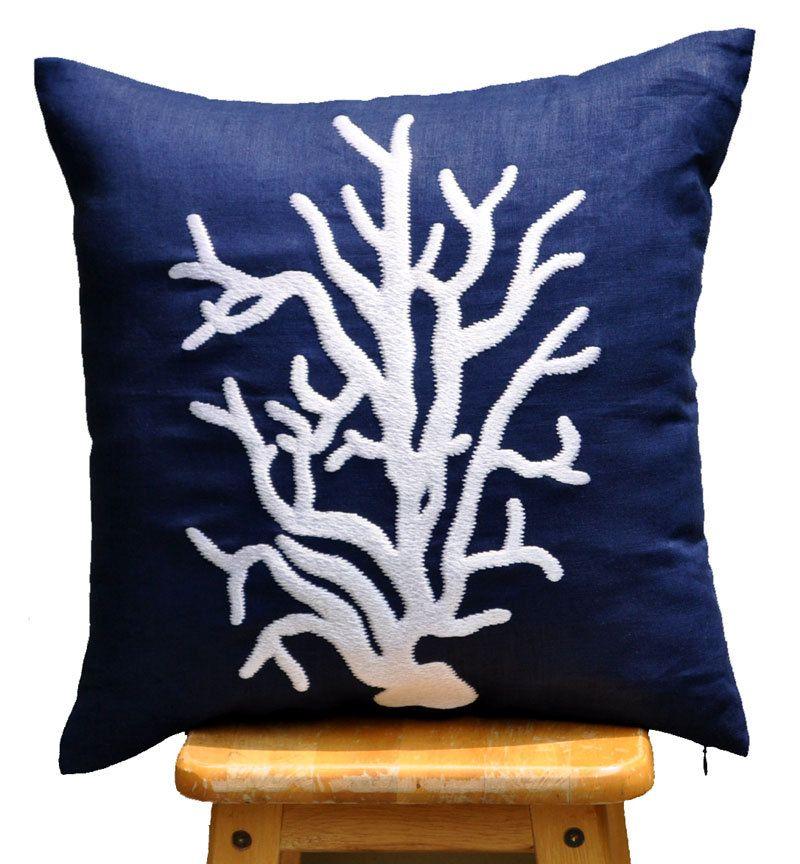 Navy Pillow Coral Throw Pillows Navy Decorative Pillow Blue Linen Pillows