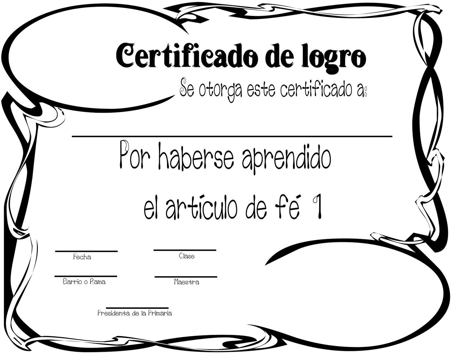 Holamormon2: CERTIFICADOS DE LOGRO (ARTICULOS DE FE)   Primary lds ...