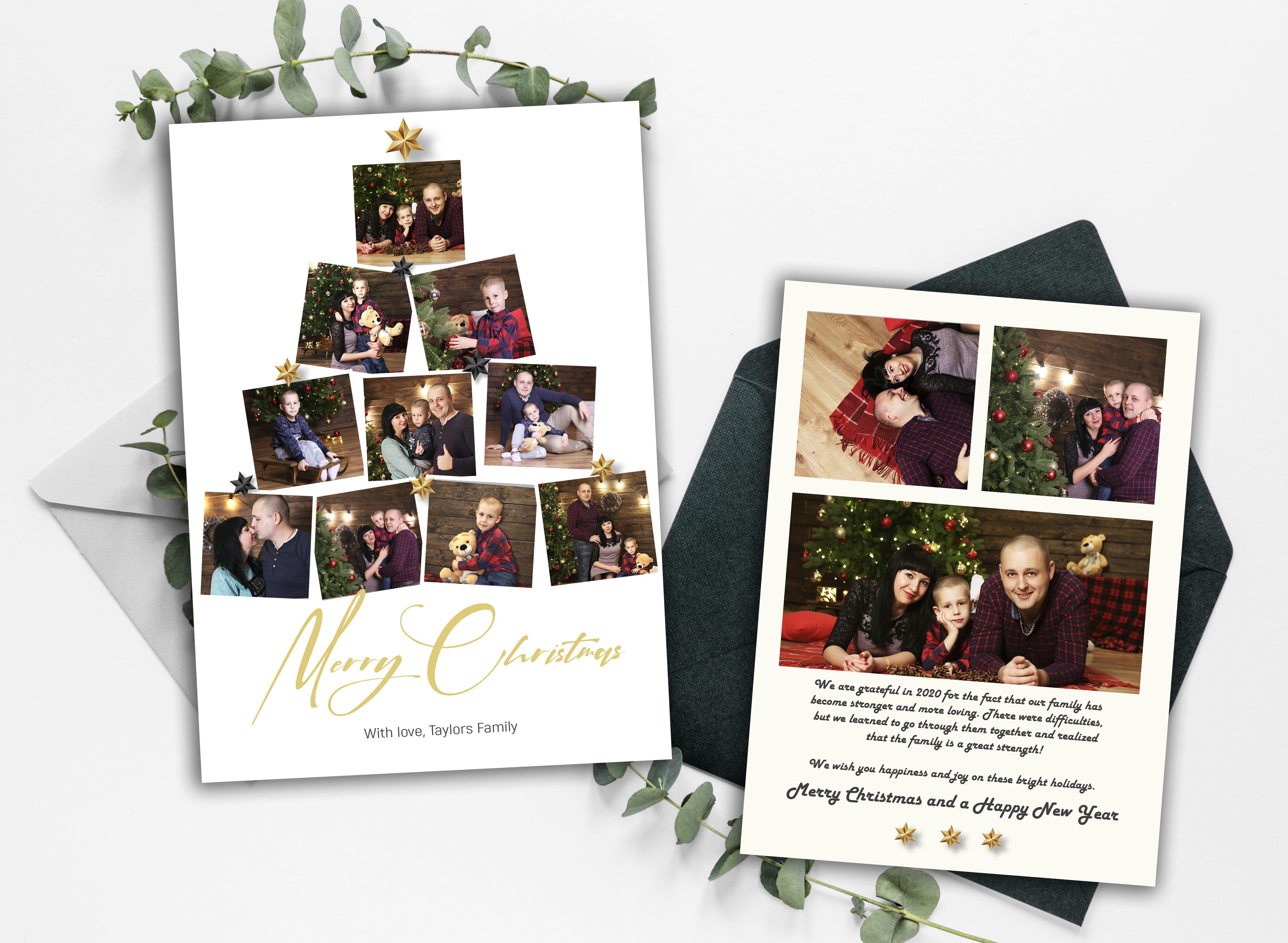Photo Christmas Card Template Merry Christmas Script Font Etsy Christmas Photo Card Template Printable Holiday Card Christmas Card Template