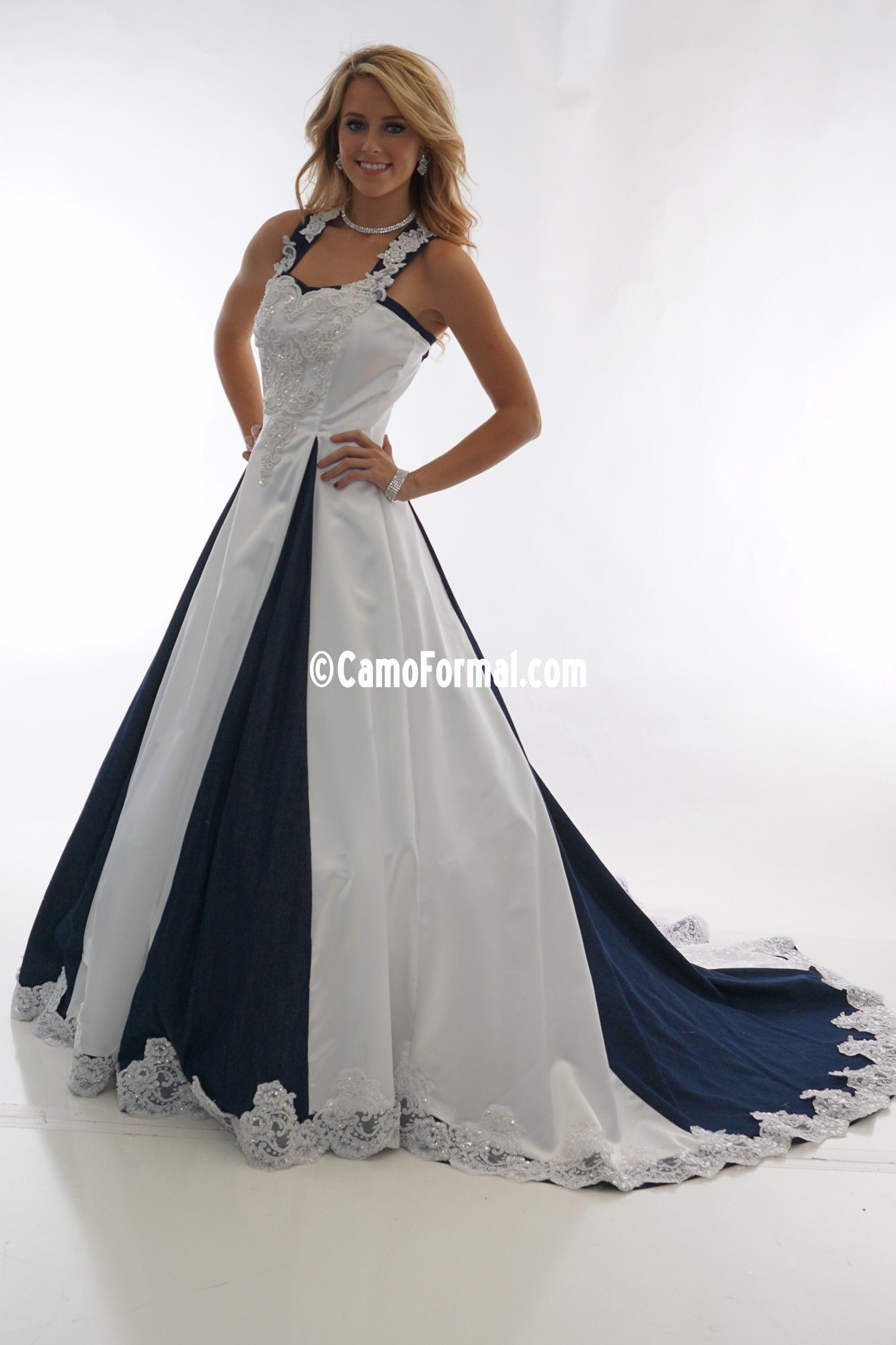 2a6615e5fc0 8890 White Satin   Denim Full Lace Insert Camouflage Prom Wedding Homecoming  Formals