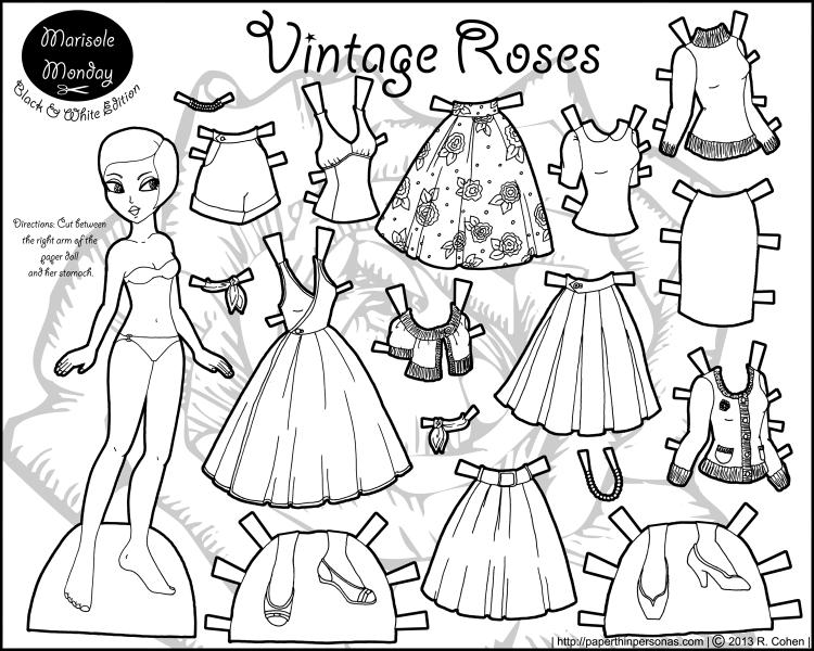 marisole-vintage-roses-bw.png (750×600) | Manualidades para niños ...