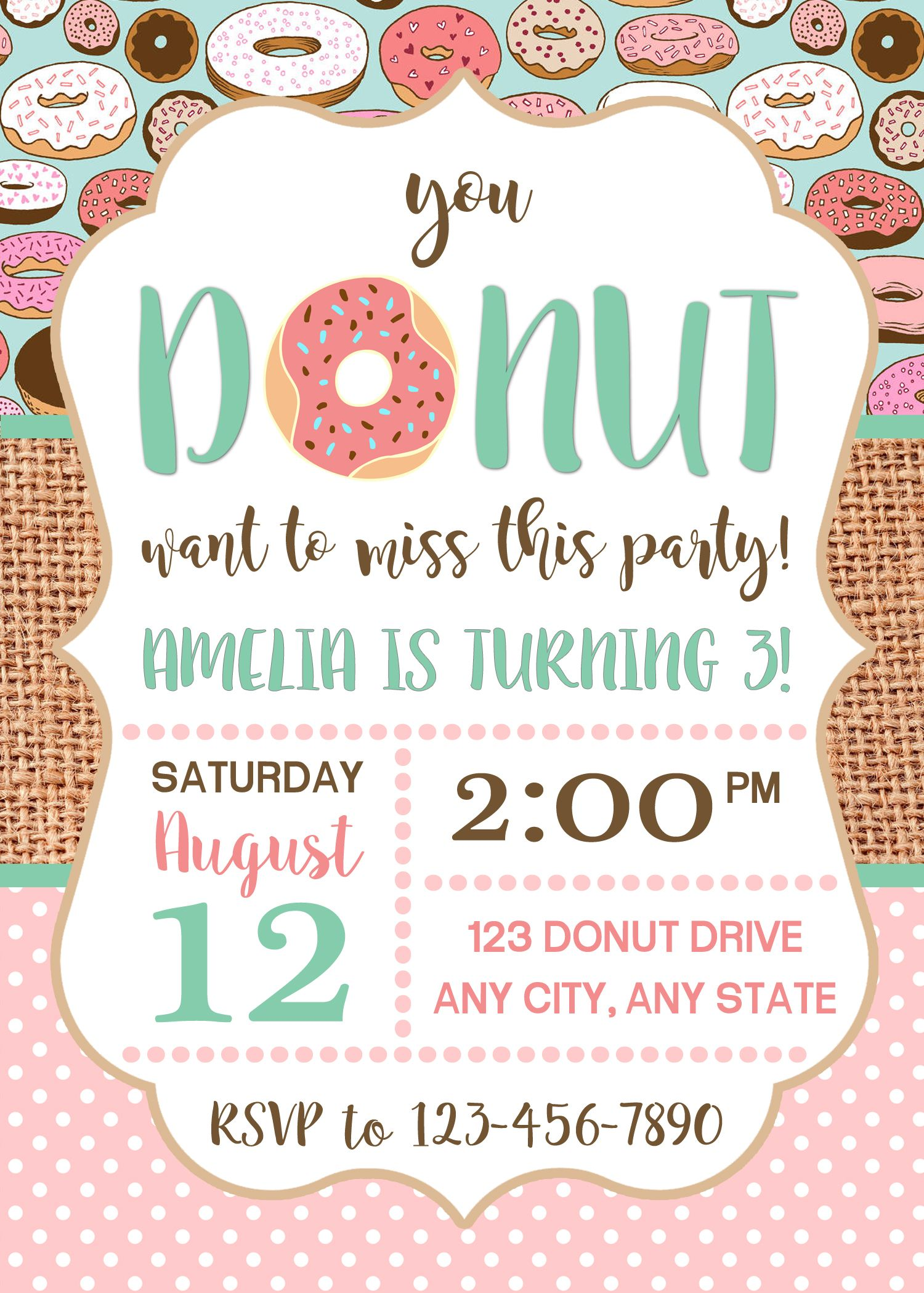 donut invitation  donut party  birthday invitation  donut