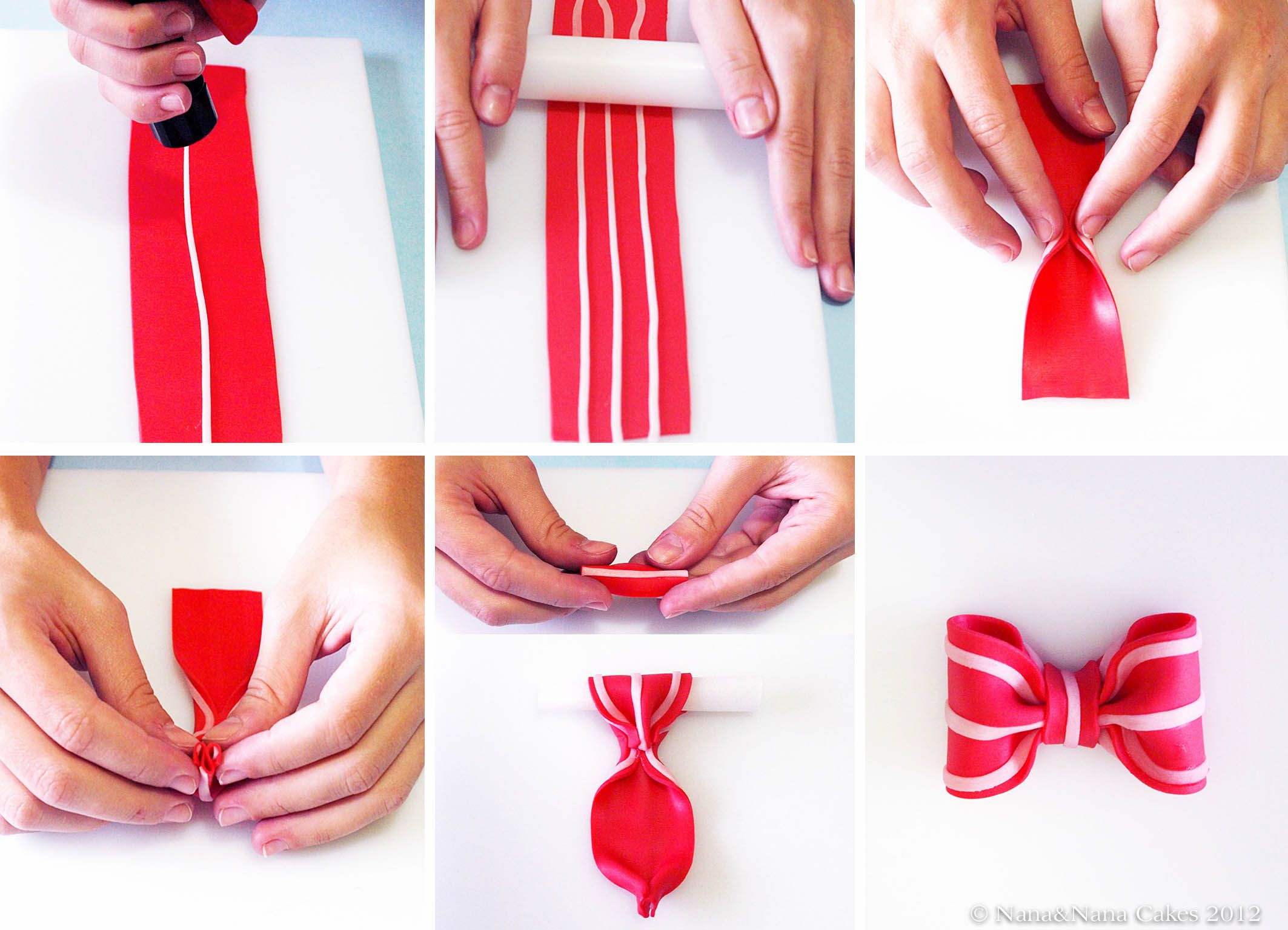 Cute striped fondant bow!