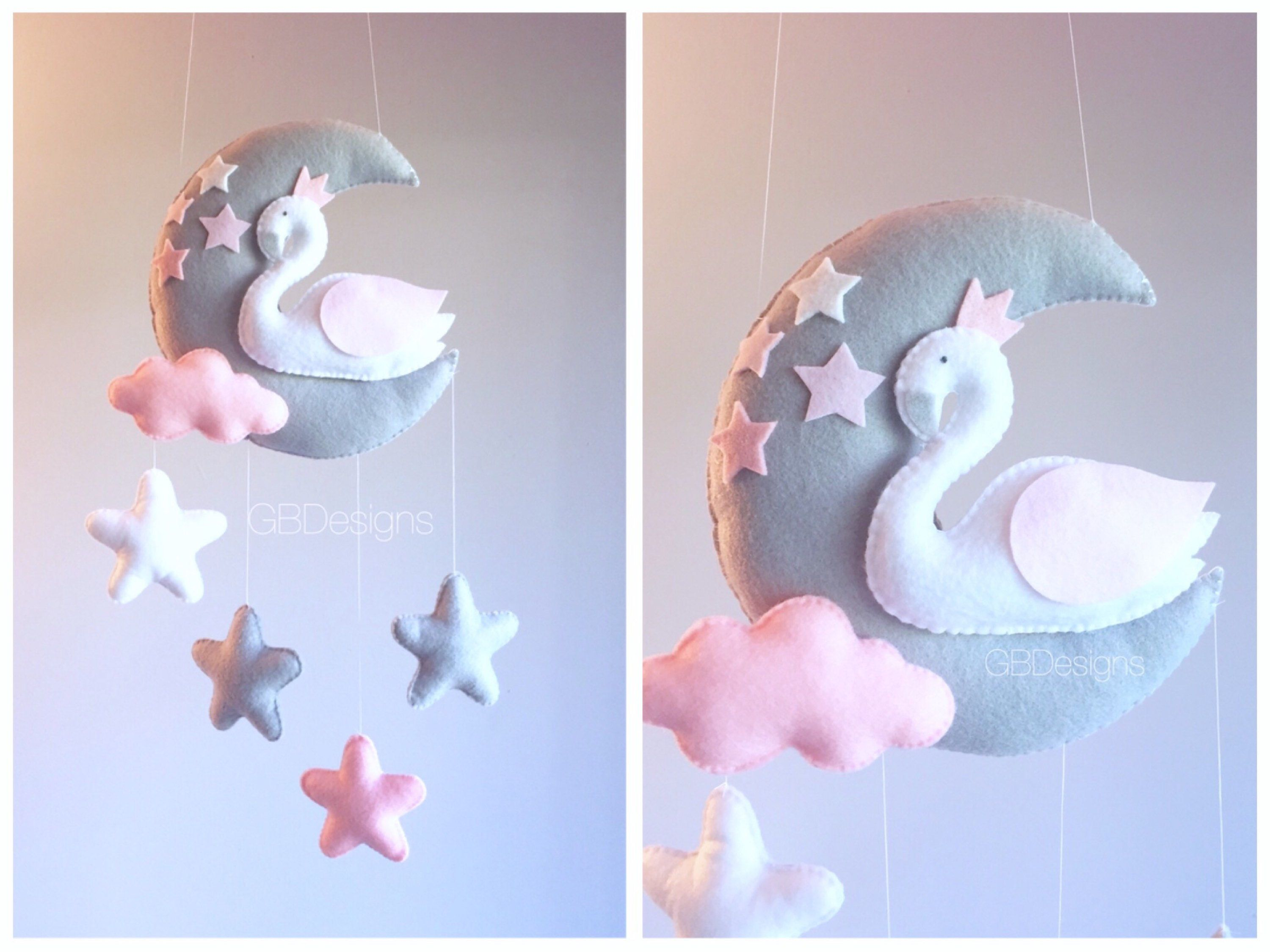 Baby mobile baby mobile swan swan mobile pink and