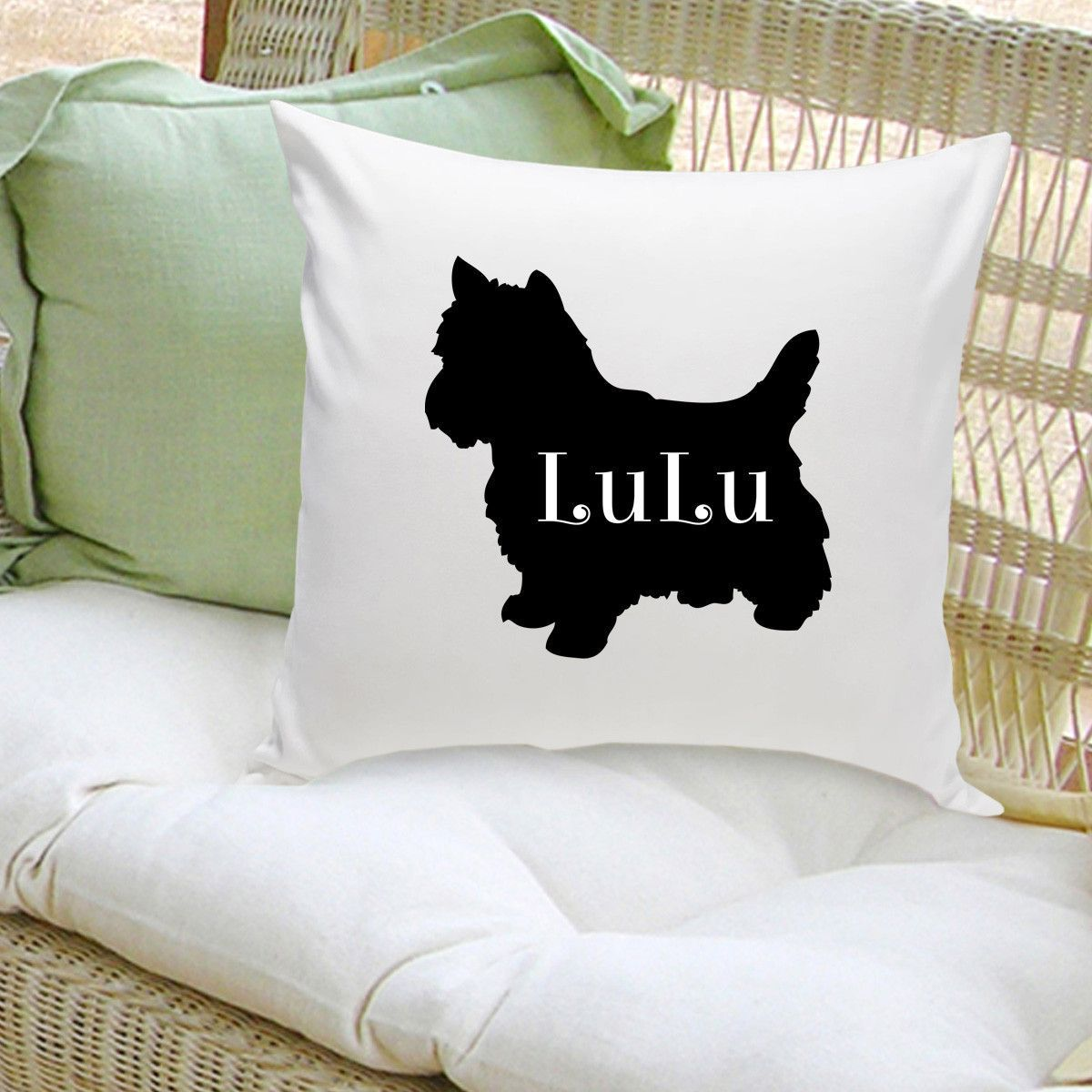 Personalized Dog Throw Pillow Dog Breed Silhouette in