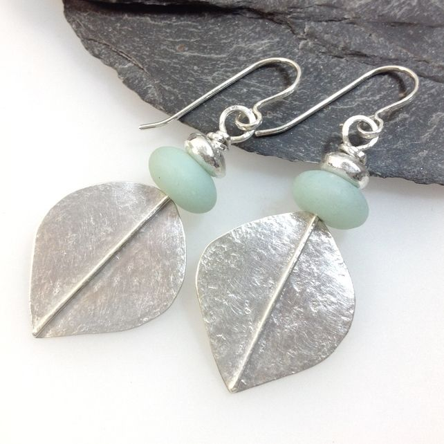 59f792393 Large silver and amazonite leaf spear earrings Tribal Earrings, Organza  Gift Bags, Handmade Art