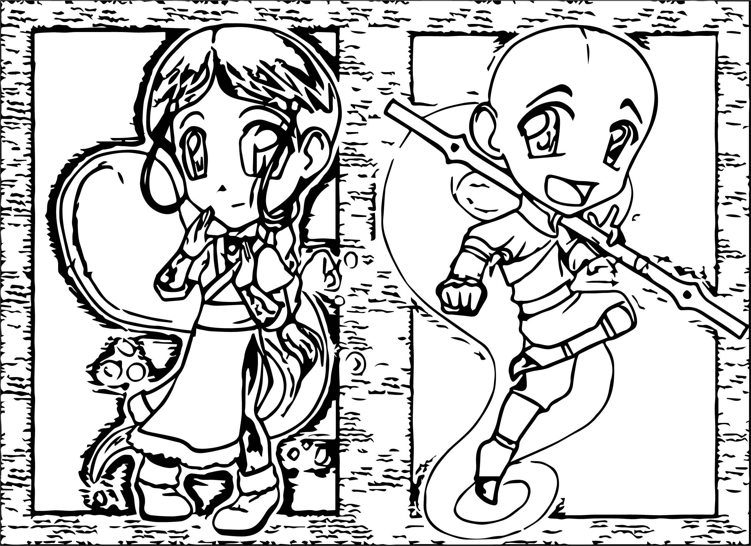 Nice Aang And Katara Chibis Guardianyashu Avatar Aang Coloring Page Avatar Aang Cartoon Coloring Pages Princess Coloring Pages