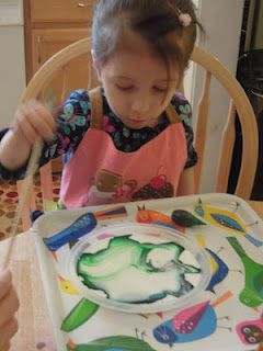 Milk, food coloring, and dish soap experiment Toddler