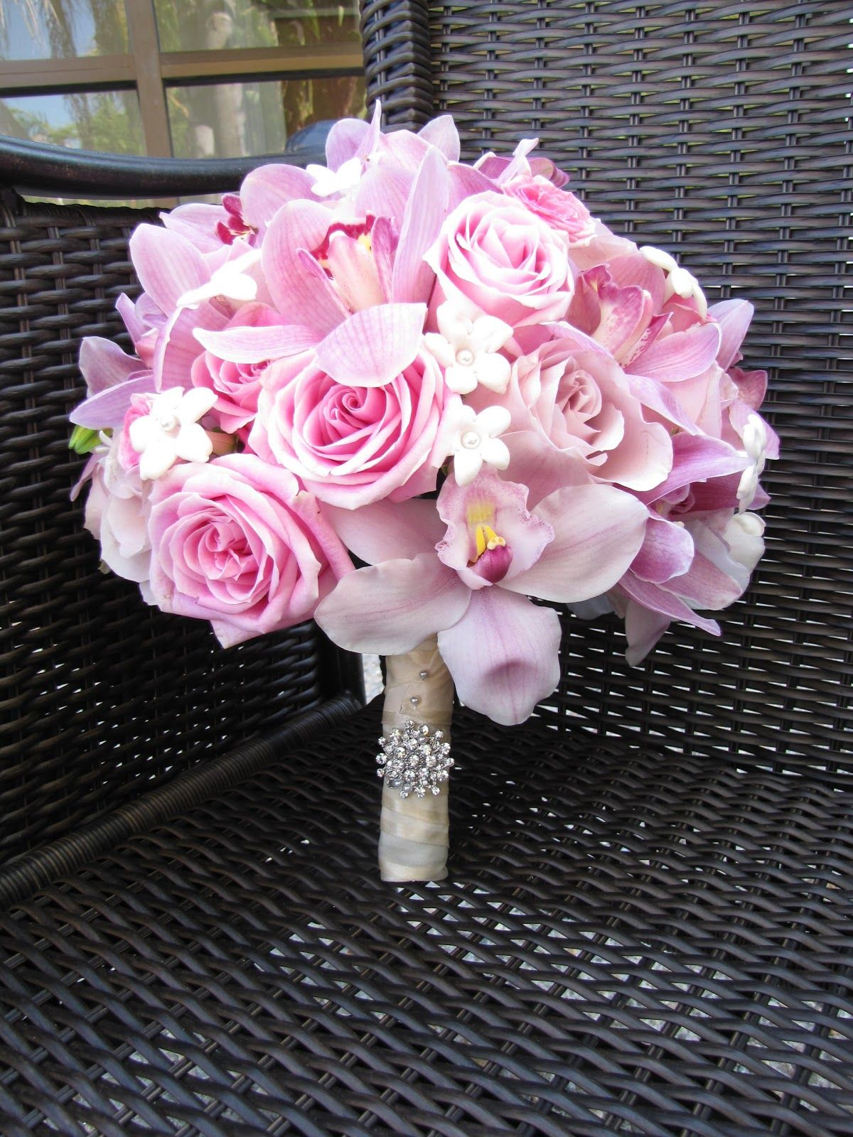 Pink Roses And Orchid Bridal Bouquet Bridal Bouquet Pink Simple