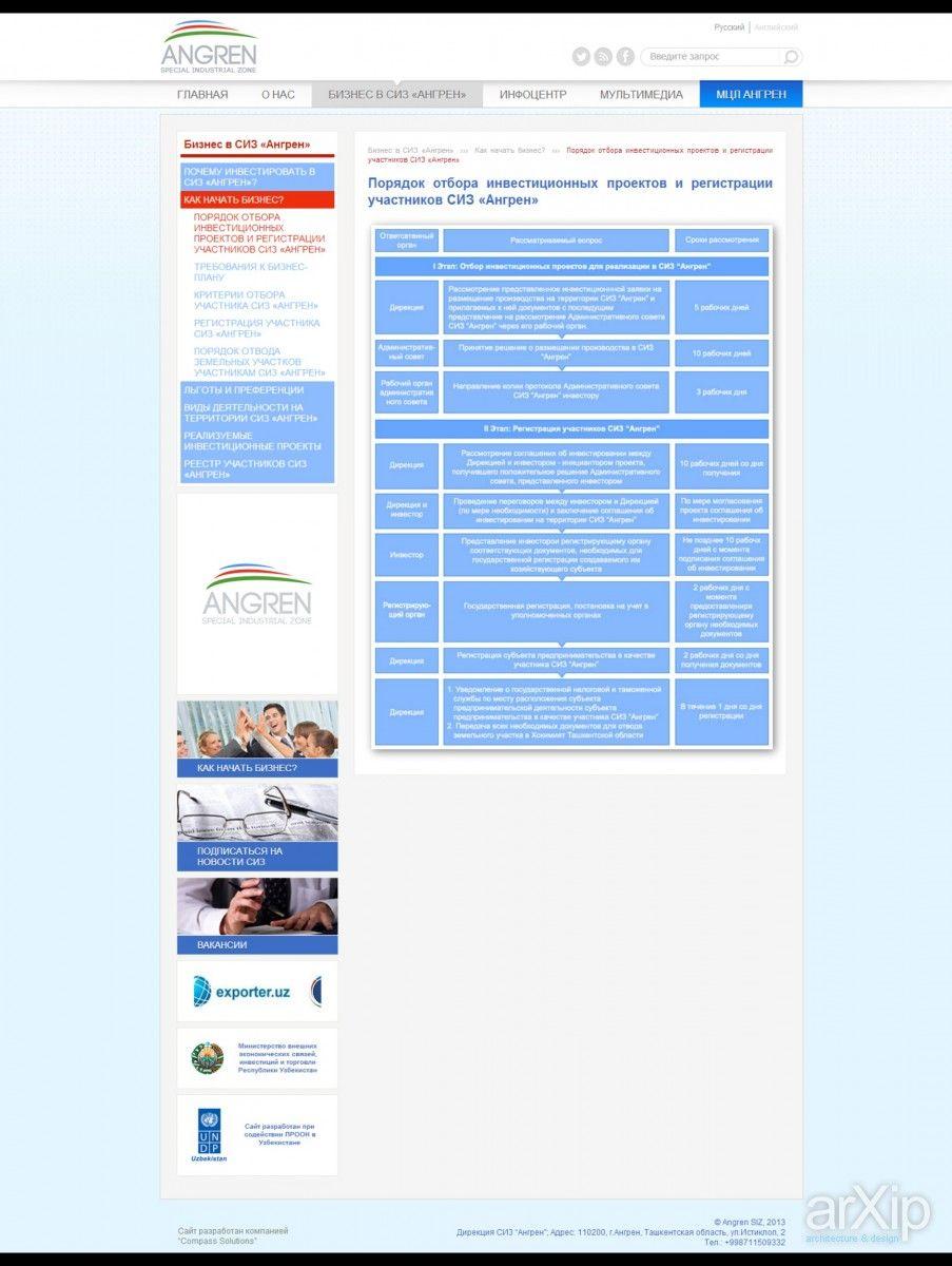 """Макет сайта для СИЗ Ангрен (Специальная Индустриальная Зона """"Ангрен""""): веб-дизайн, бизнес сайт, metro ui #webdesign #busines #metroui arXip.com"""