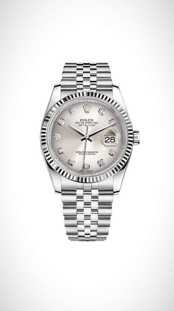 Rolex Datejust 36 in white Rolesor - a combination of 18ct white gold and 904L steel, with a fluted bezel, silver dial set with diamonds, and a Jubilee bracelet. #rolexwatches