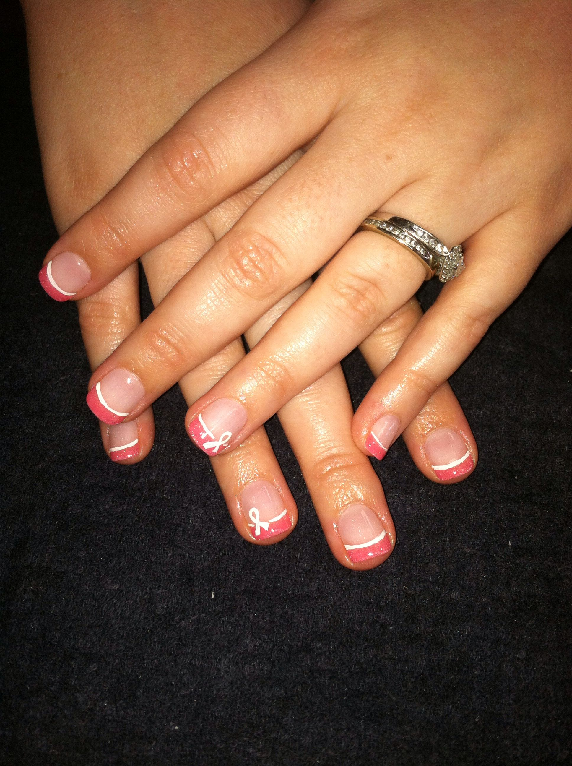 Pink French tip Nexgen nails. It\'s breast cancer awareness month and ...