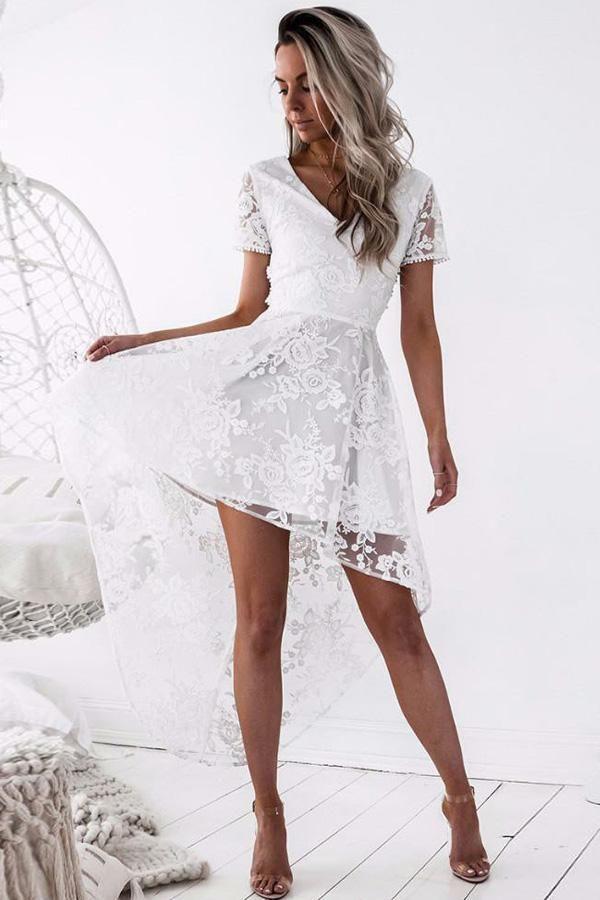 f9db7c074b7 Homecoming dresses short white sleeve prom open back high low  promdresseshighlow also rh pinterest