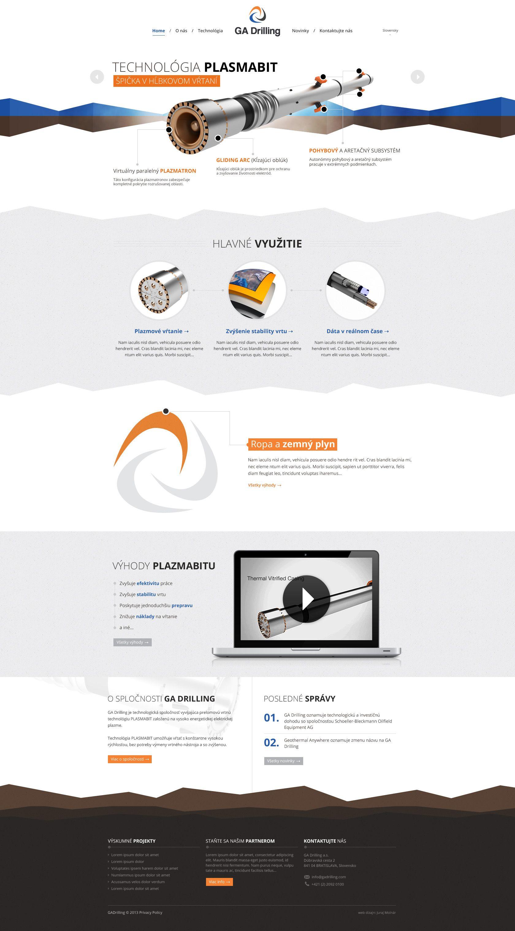 0059216f101 GA Drilling by jurajmolnar Website design layout. Inspirational UX UI design  sample. Visit