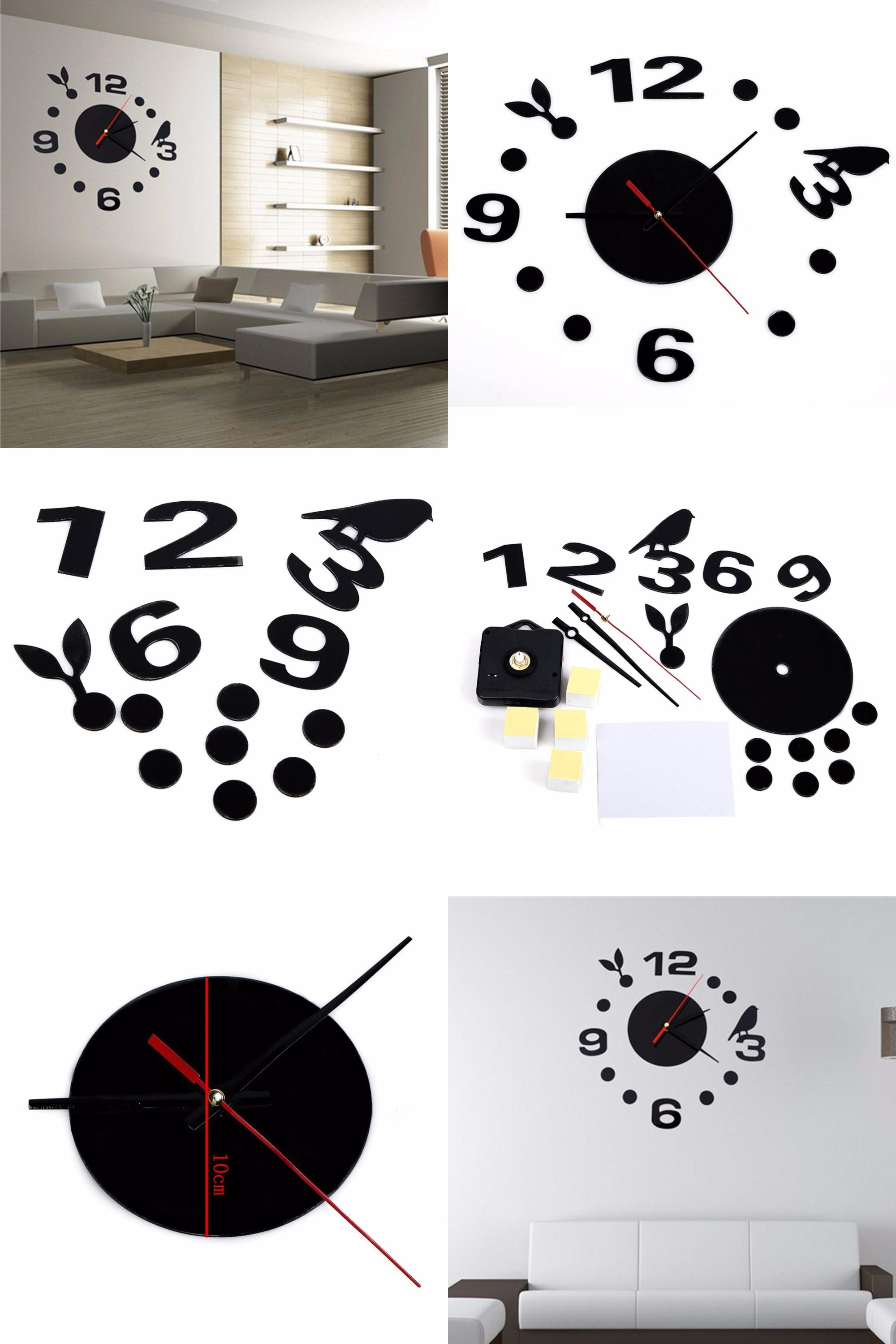 [Visit To Buy] Wall Clock Diy Acrylic Home Room Decal