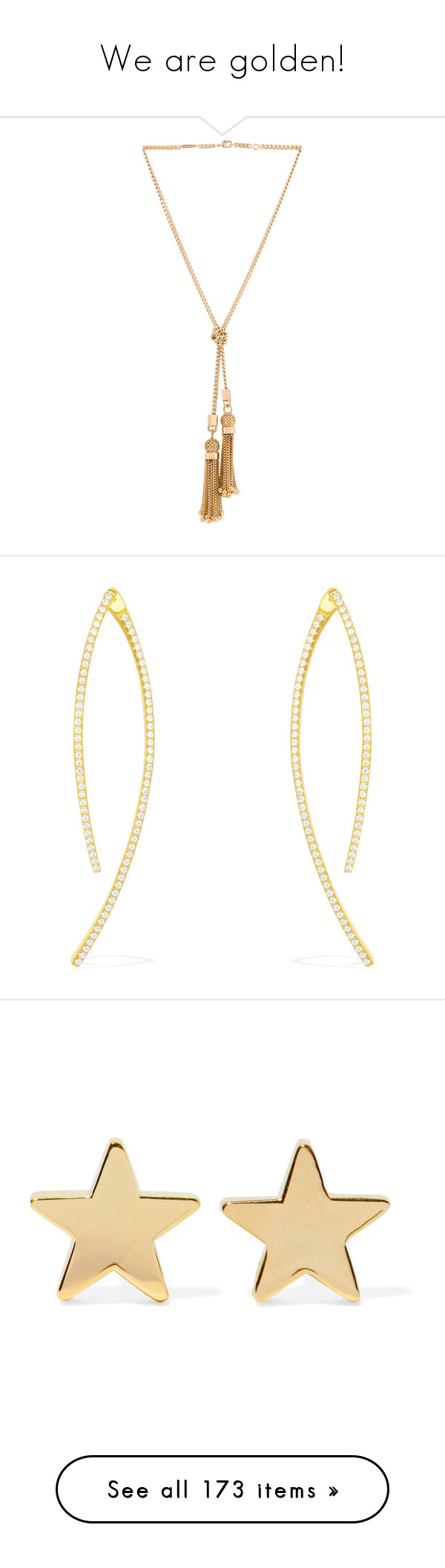"""We are golden!"" by rafieldshow ❤ liked on Polyvore featuring jewelry, necklaces, accessories, lariat necklaces, chain link necklace, chloe jewelry, chain link jewelry, tassle necklace, earrings and silver earrings"