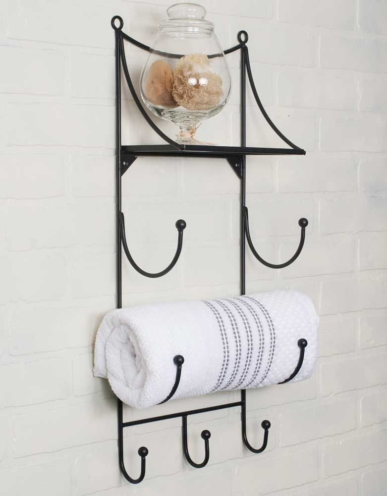 Towel Wall Rack with Shelf | bath ideas | Pinterest | Wall racks ...