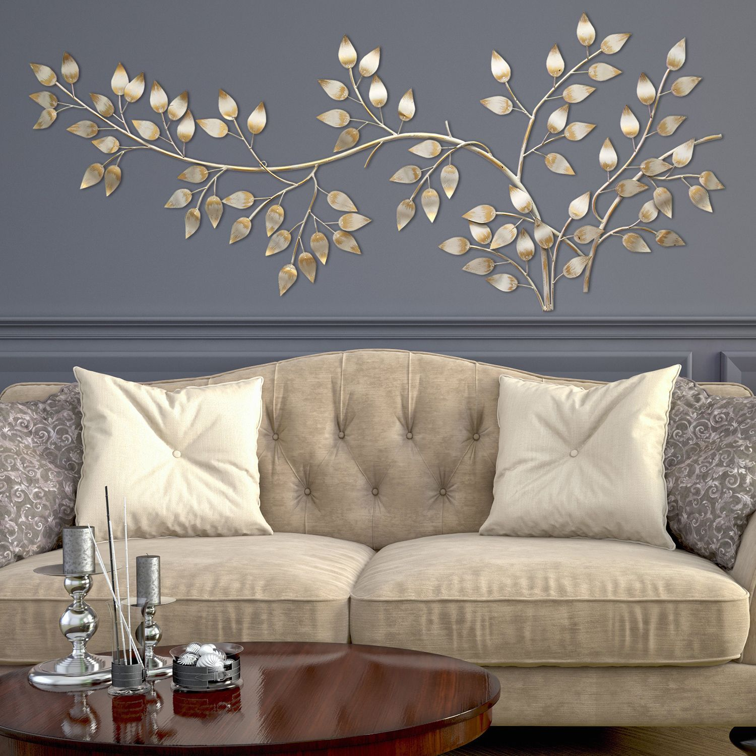 Stratton home decor brushed gold flowing leaves wall decor metal