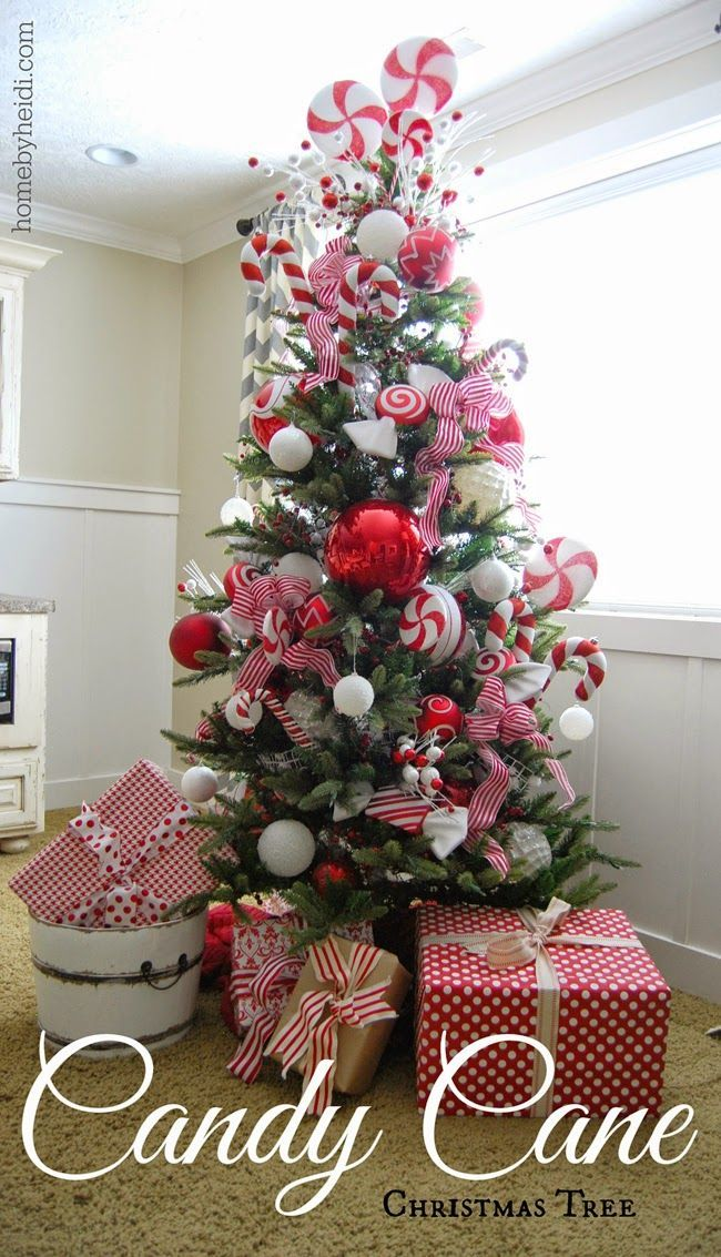 competitive price c3348 dcea7 Candy Cane Christmas Tree | Candy cane christmas tree, White ...