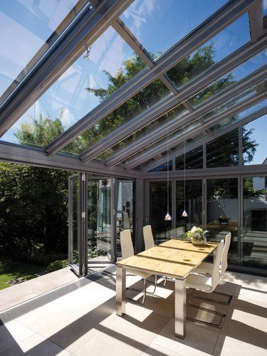 Conservatory Room Addition In The Uk 1040x1485 In 2020: A Modern Lean-to Aluminium Conservatory Makes A Fine And Stylish Breakfast Area Addition To This