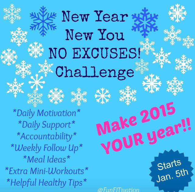 New Year, New You, NO EXCUSES! Workout challenge!! Apply now to join... http://form.jotform.us/form/43473574663160.  Person with biggest percentage of weight loss gets a FREE bag of Shakeology!   Fill out application and I will contact you with the requirements! :)