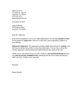 attorneys can use this legal disengagement letter to let a client know that services are being severed free to download and print