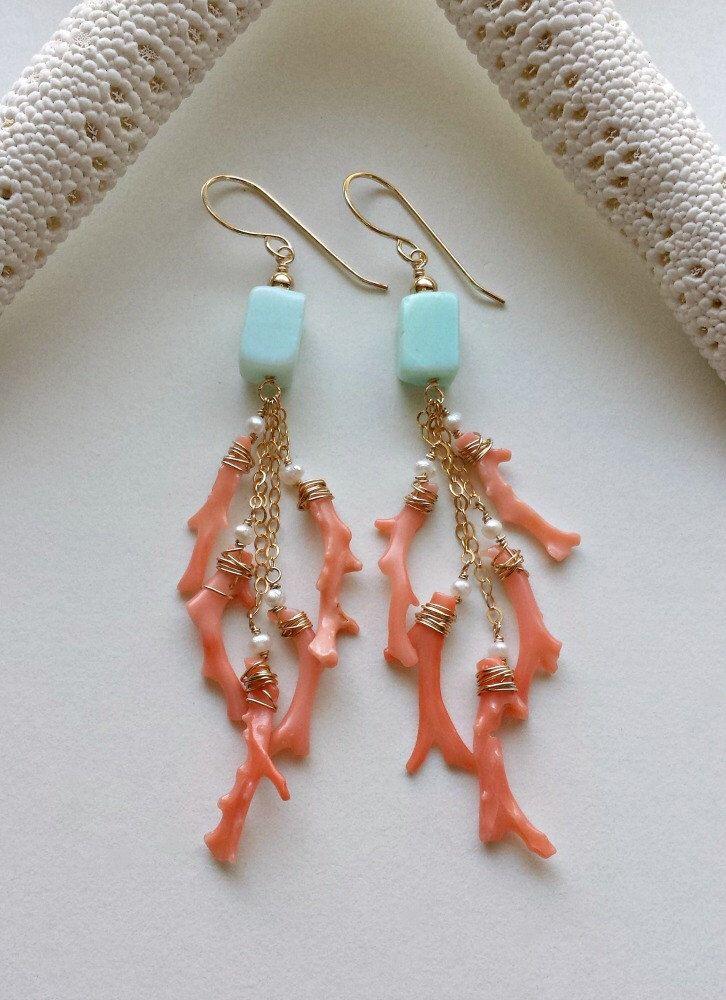 Peach Aqua Dangle Earrings, Peruvian Opal Dangles, Pink Coral Branch Earrings, Beachy Dangle Earrings, Blue Peruvian Opal by BellaAnelaJewelry on Etsy https://www.etsy.com/listing/234137800/peach-aqua-dangle-earrings-peruvian-opal