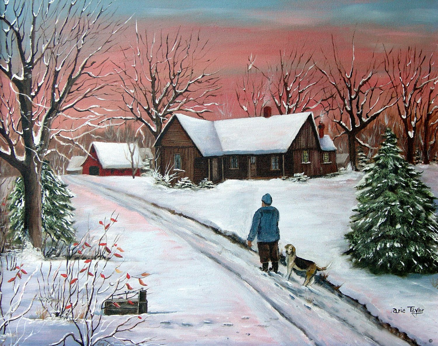 Red Farmhouse Drawing Morning Red Winter Snow Rabbit Box Old Farm House Hound