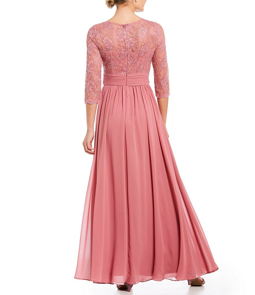 Emma street sleeve sequined lace gown aline covered back