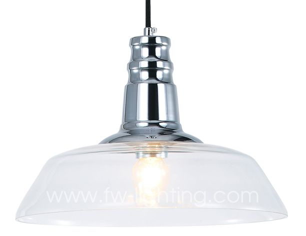 Ineslam clear glass pendant light,retro vintage design  with chrome lamp holder MD3059-CL