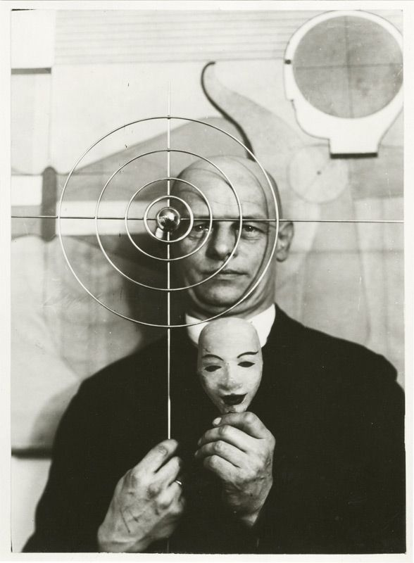 Oskar Schlemmer (German, 1888 – 1943)    with mask and metal object, 1931  Oskar Schlemmer Archive. Staatsgalerie Stuttgart, Germany